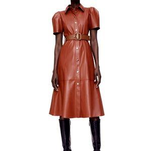 Zara faux leather midi dress